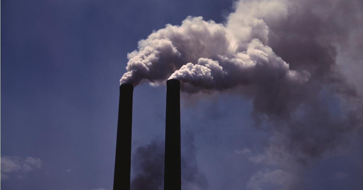 Chimney stacks with smoke