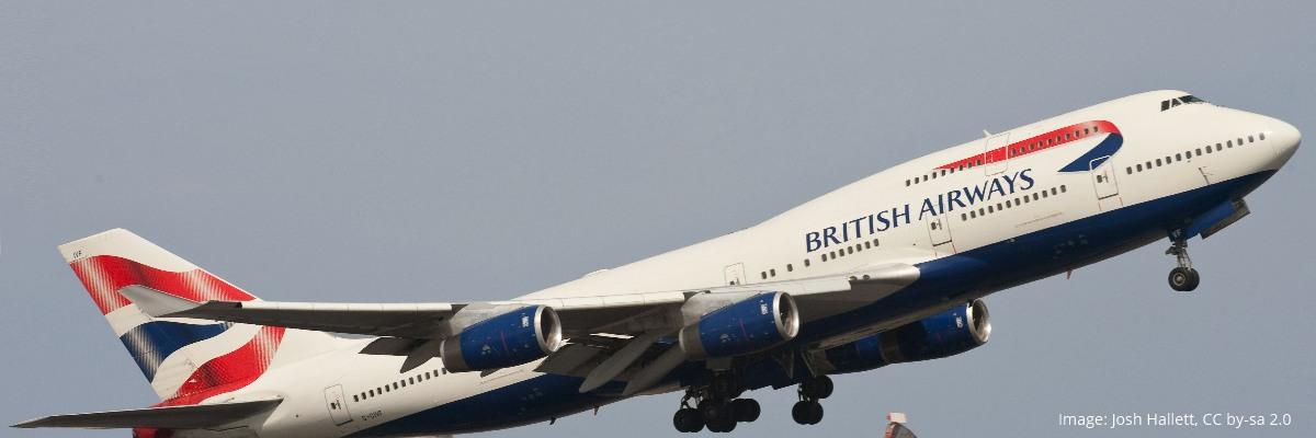 BA 747-400 in flight at Heathrow
