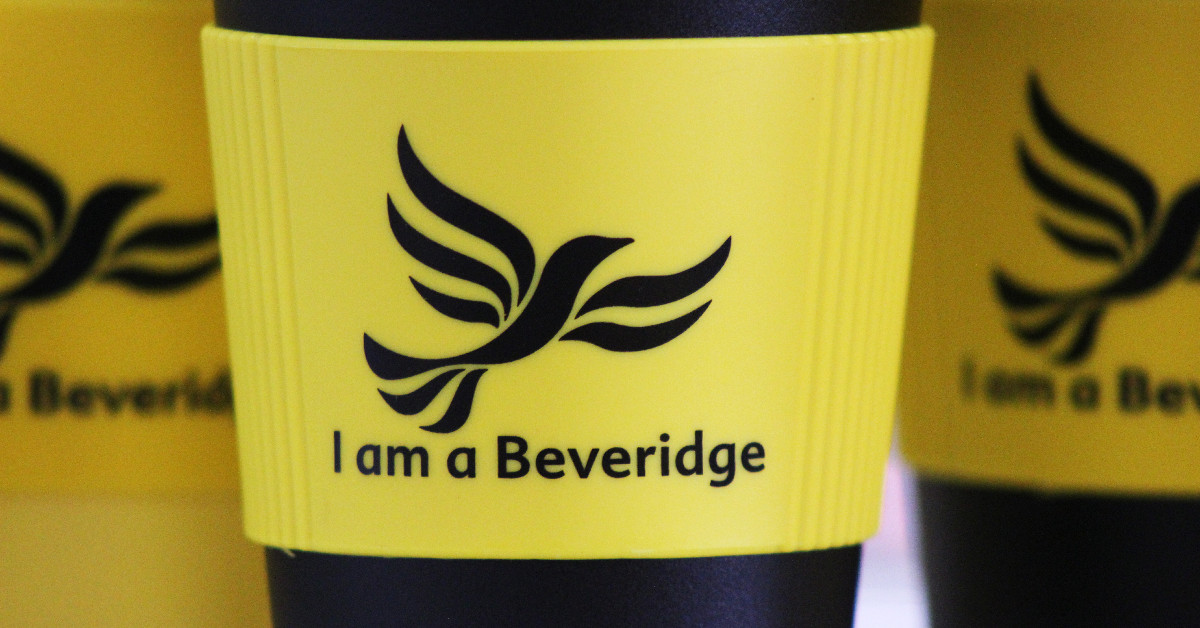 A Liberal Democrat Coffee Cup. A recyclable one too, isn't that nice.