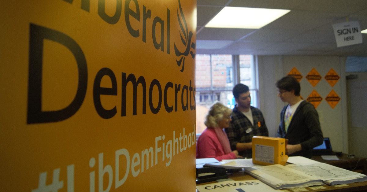 Liberal Democrat activists get a briefing in a by-election HQ