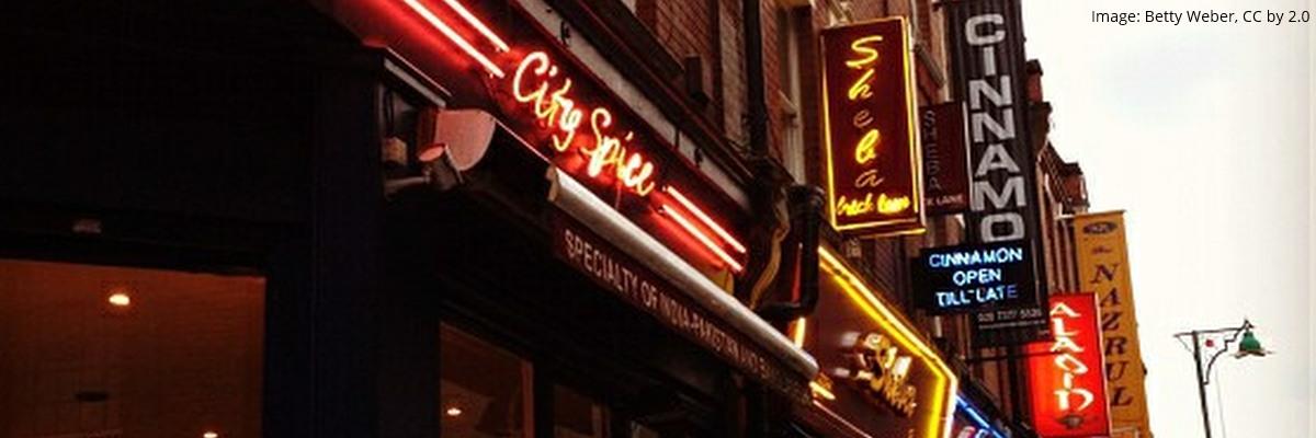 Curry houses on Brick Lane, London