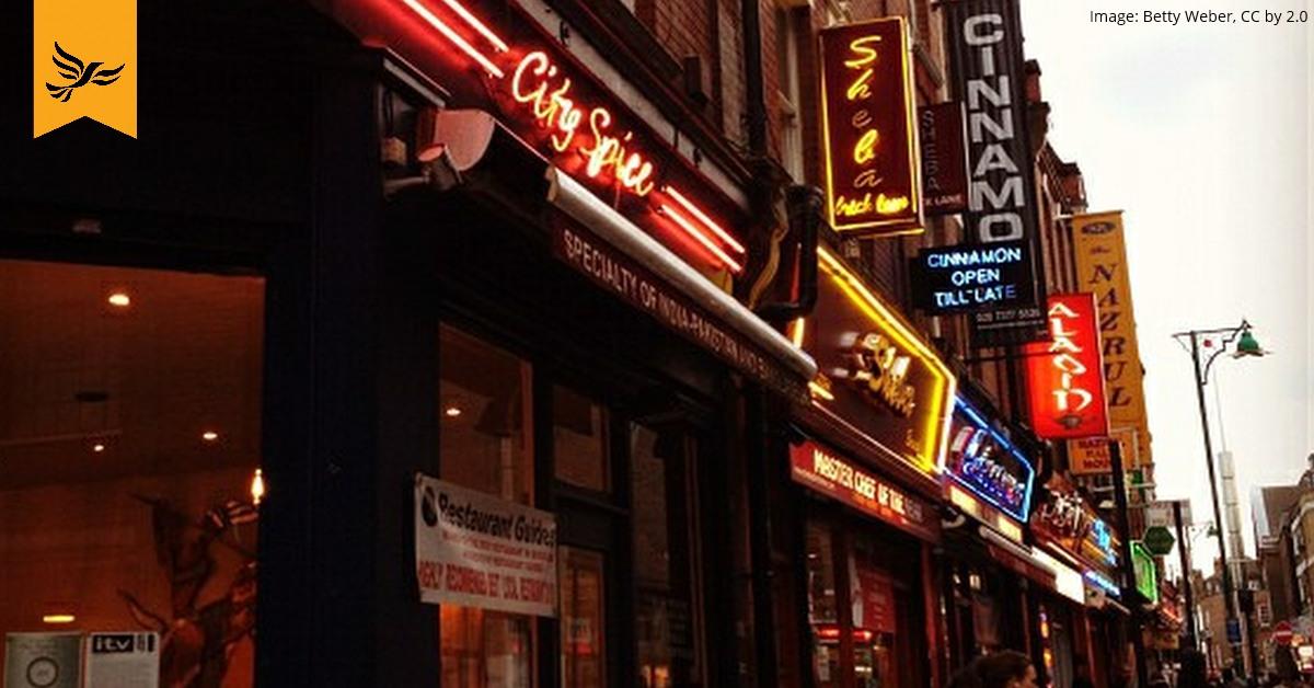 Curry houses on Brick Lane, London.