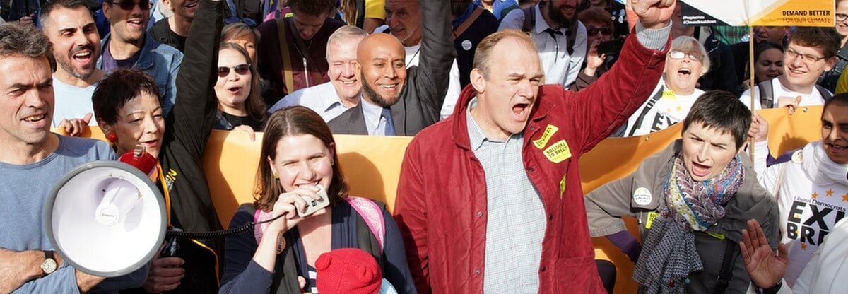 Jo Swinson and Ed Davey at march against Brexit