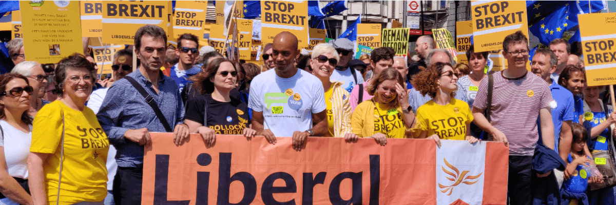 Liberal Democrats marching against Brexit