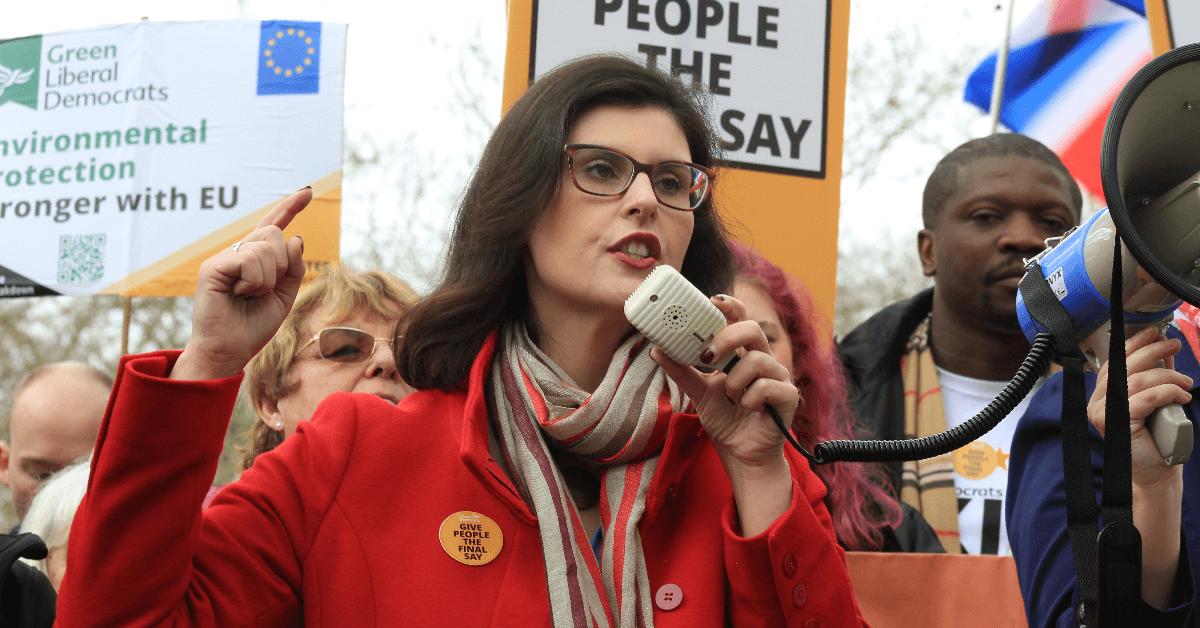 Layla Moran speaks at anti-Brexit march