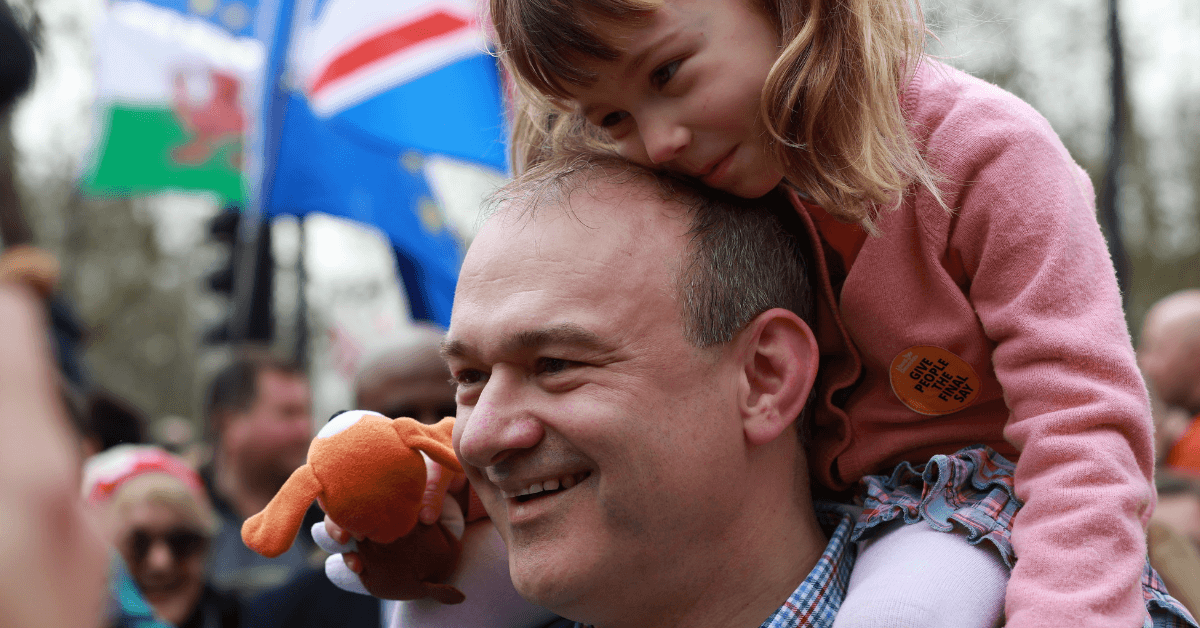 Ed Davey at a People's Vote March Links to: Ed Davey's conference speech - highlights