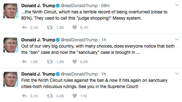 Trump suggests he'll take 'sanctuary cities' case to Supreme Court