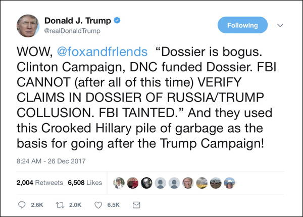 Trump slams Federal Bureau of Investigation and Clinton for dossier claims