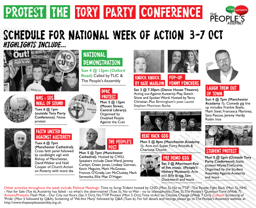 Event Highlights for the Week of Action to Protest the Tory Conference