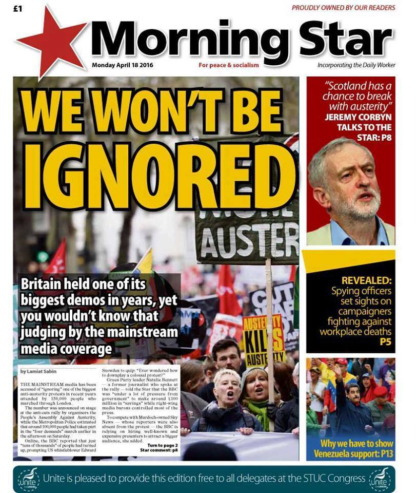 Front page of the Morning Star
