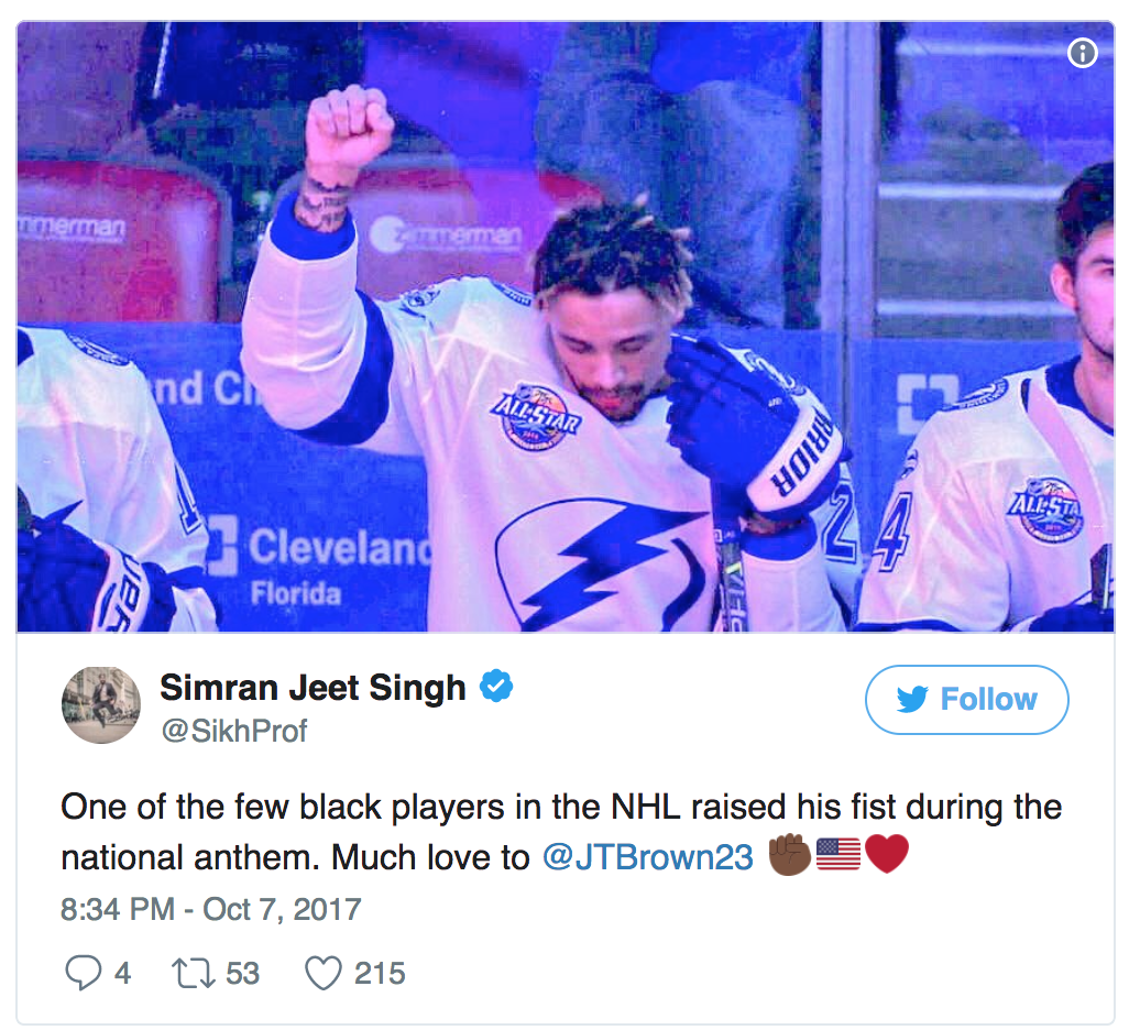 Lightning's JT Brown explains why he won't raise fist during anthem