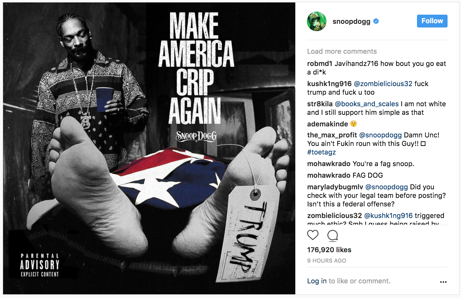 Snoop Dogg Mocks Trump Death With New Album Cover