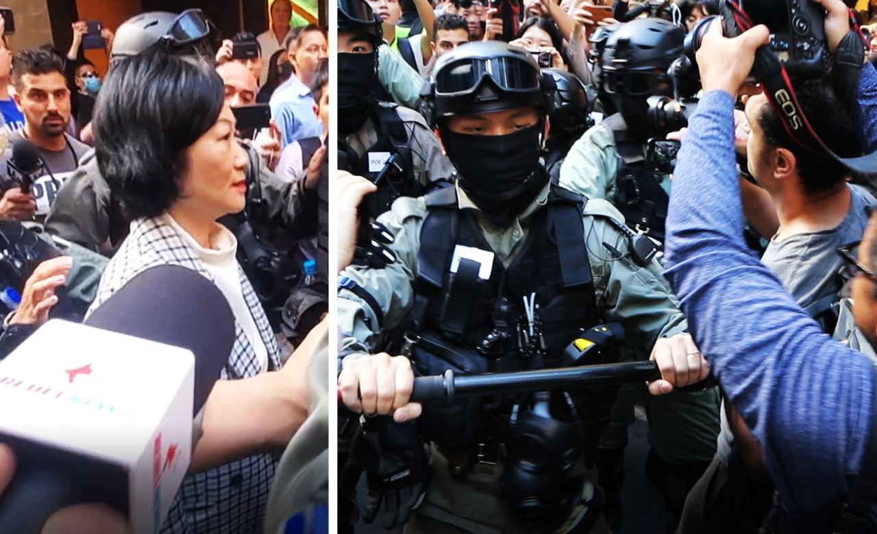 Regina Ip, pro-Beijing lawmaker, pushes through peaceful lunchtime Hong Kong protest with armed security