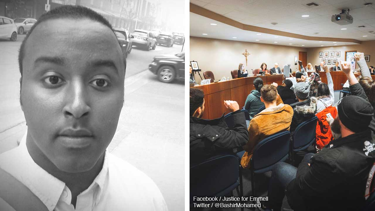 Bashir Mohamed crashes Edmonton Catholic School Board meeting over allegedly racist dress policy