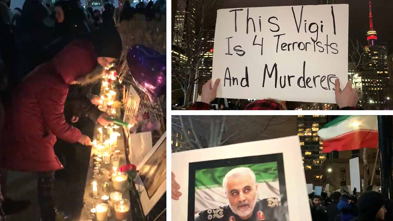 Hundreds of pro-regime Iran supporters in Toronto protest assassination of Qassem Soleimani