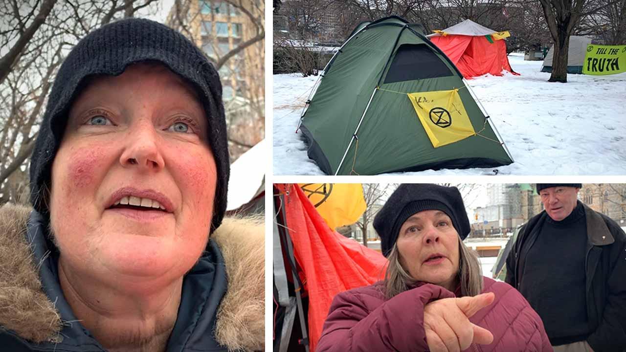 Greta Thunberg-inspired environmental extremists set up shanty town at war memorial