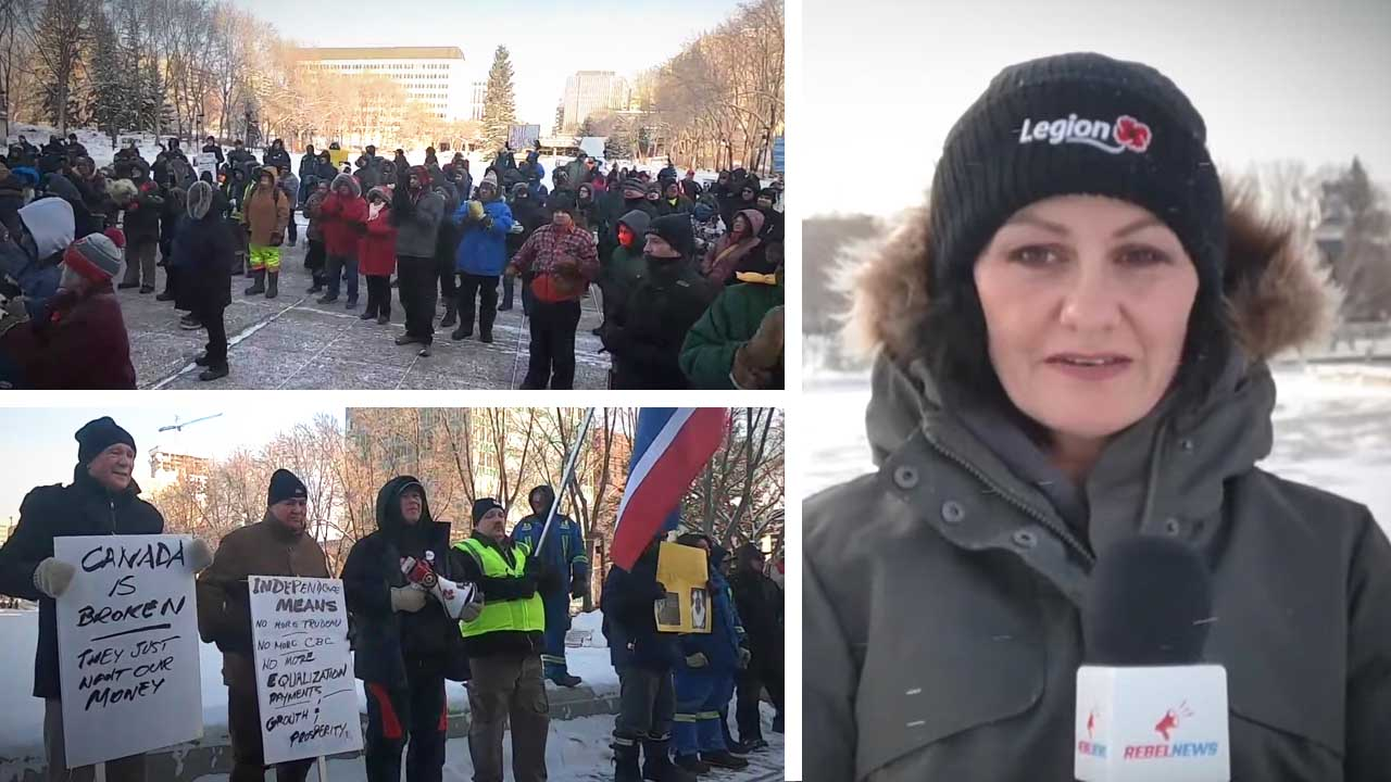 """""""Canada is broken"""" Wexit rally attendees in Edmonton brave -20 C cold"""