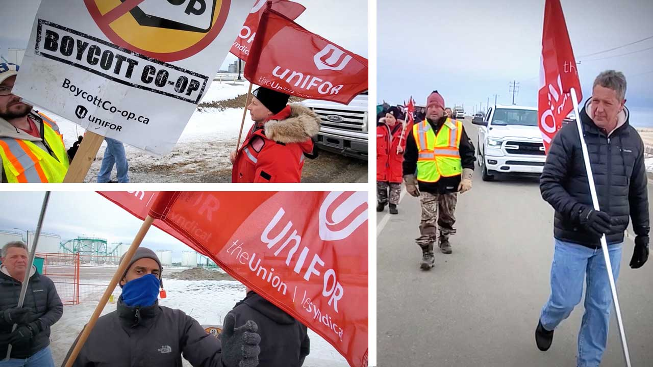Keean crosses the Unifor picket line for Co-op gas in Alberta