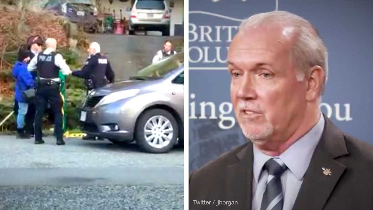 Extinction Rebellion stages protest on BC Premier Horgan's driveway