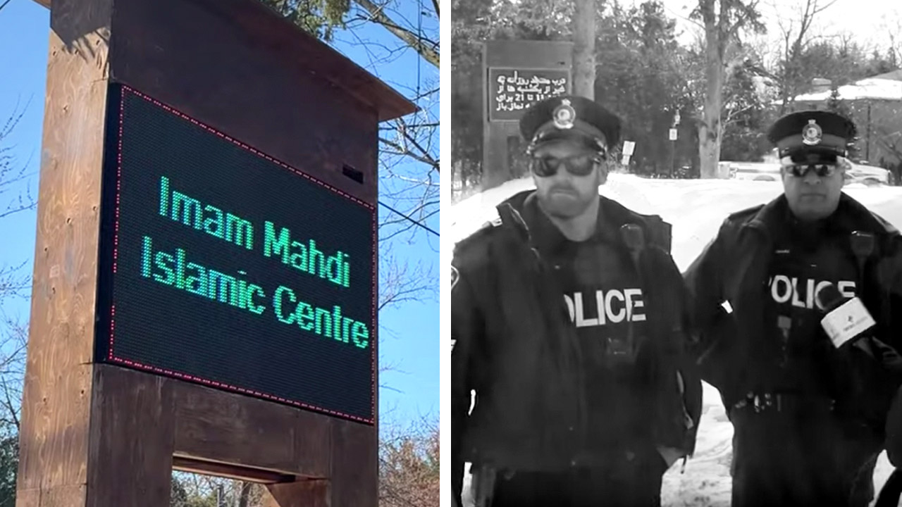 Mosque follows lockdown order (but what's with that flag?)