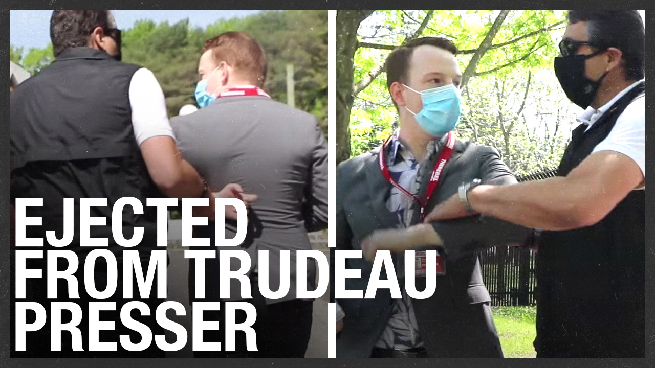RCMP grab reporter just before Trudeau's presser — dragged out by the cops!