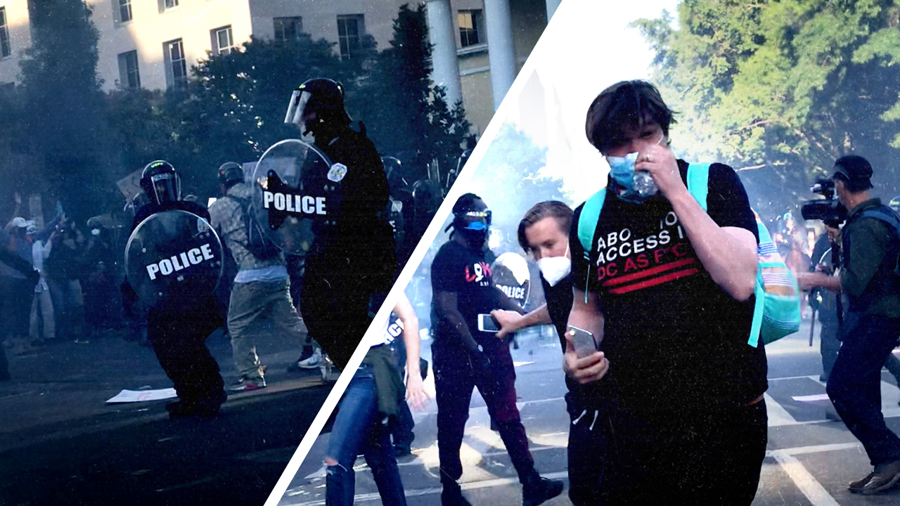 Rubber bullets in DC — mounted police push back protest after warnings