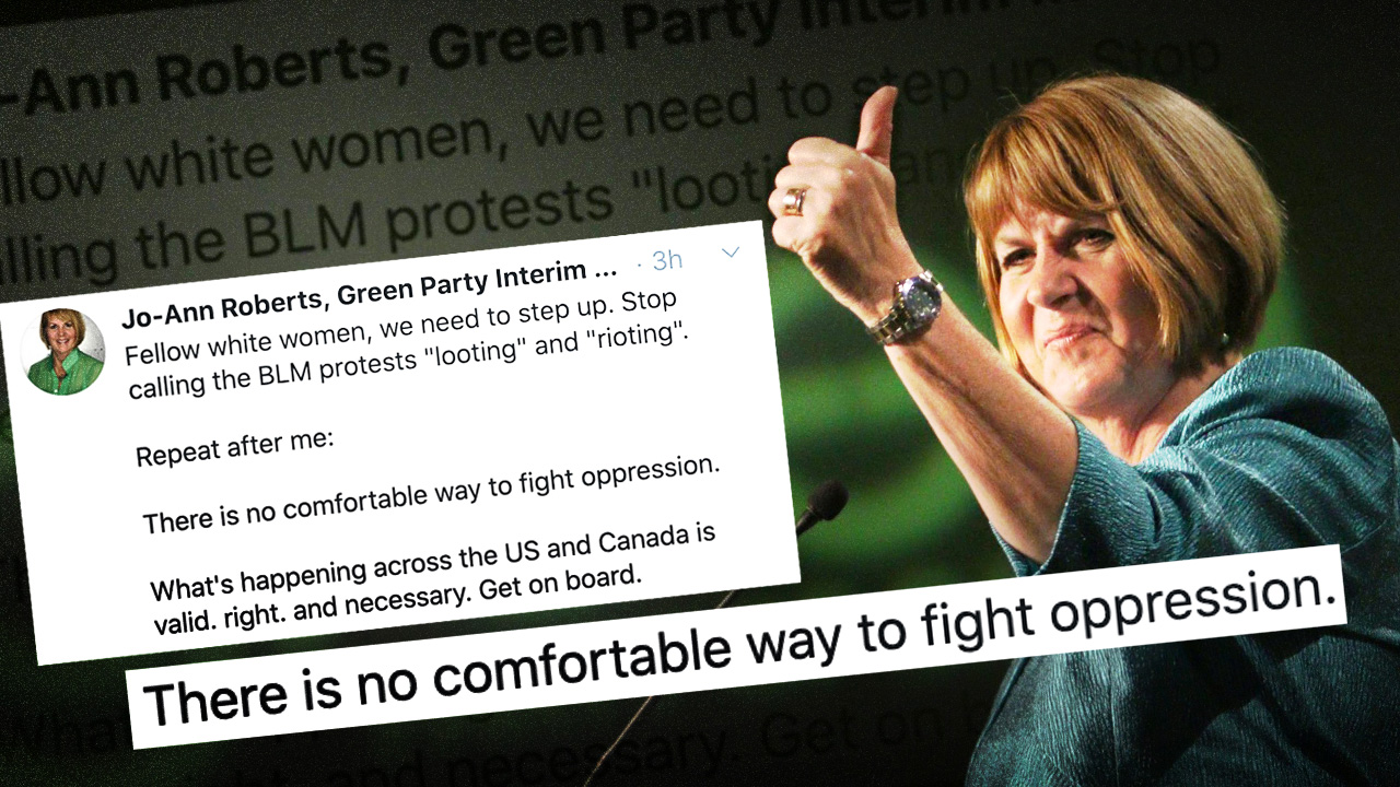 Interim Green Party leader Jo-Ann Roberts tweets support of rioting