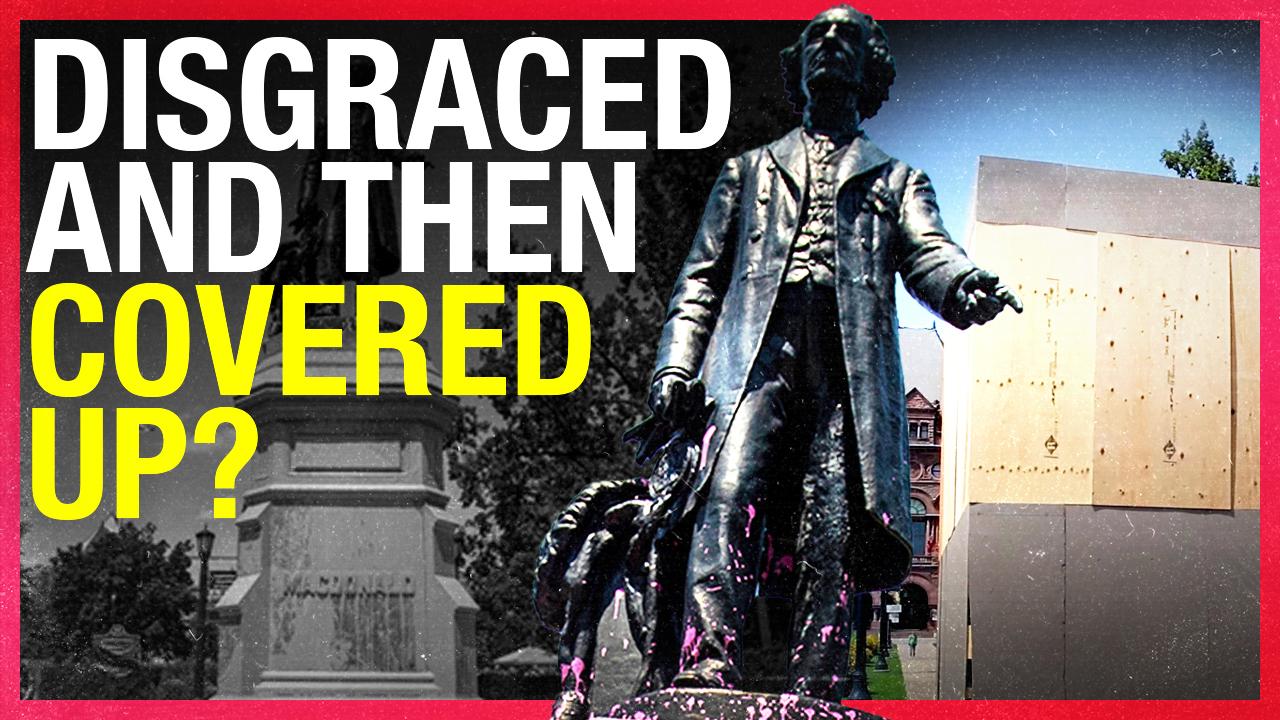 Sir John A. Macdonald statue covered in Toronto after Black Lives Matter vandalism
