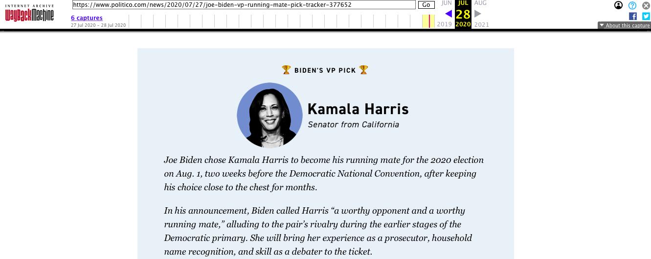 Archive: Politico announces Kamala Harris as Joe Biden VP Pick