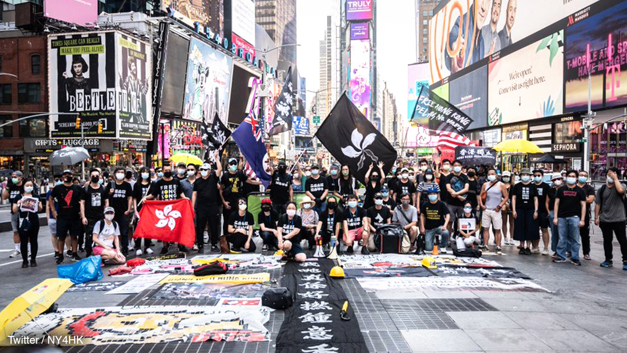 Free Hong Kong activists hold peaceful rally in New York City