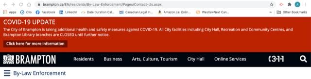 City of Brampton's By-law Enforcement Website
