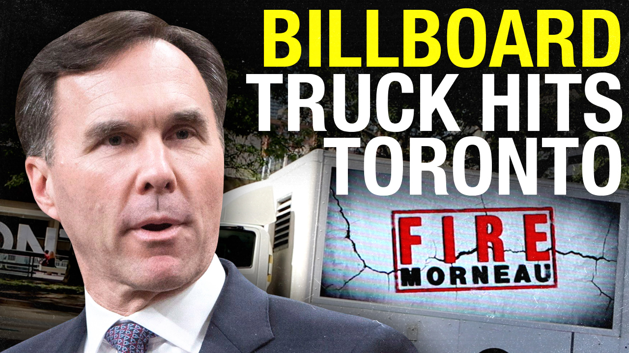 FIRE MORNEAU! Billboard truck travels through downtown Toronto
