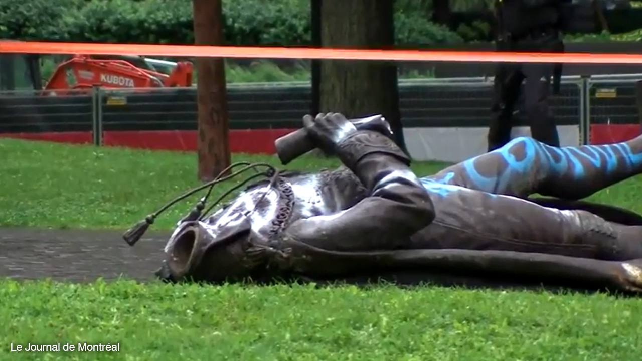 Antifa knocks over, beheads Sir John A. Macdonald statue in Montreal