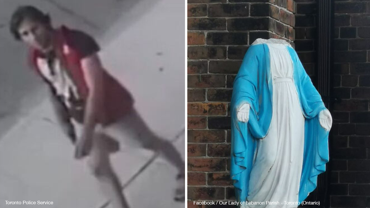 CAUGHT ON CAMERA: Police classify decapitation of Virgin Mary statue as mischief, not a hate crime