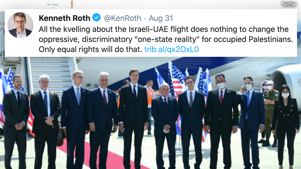 Human Rights Watch chief mocks Jews supporting new Israel-UAE peace deal