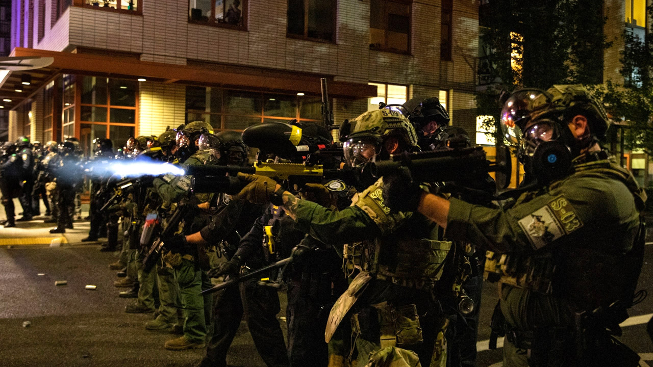 Antifa assaults Seattle cop with metal baseball bat. Antifa also threw a bomb