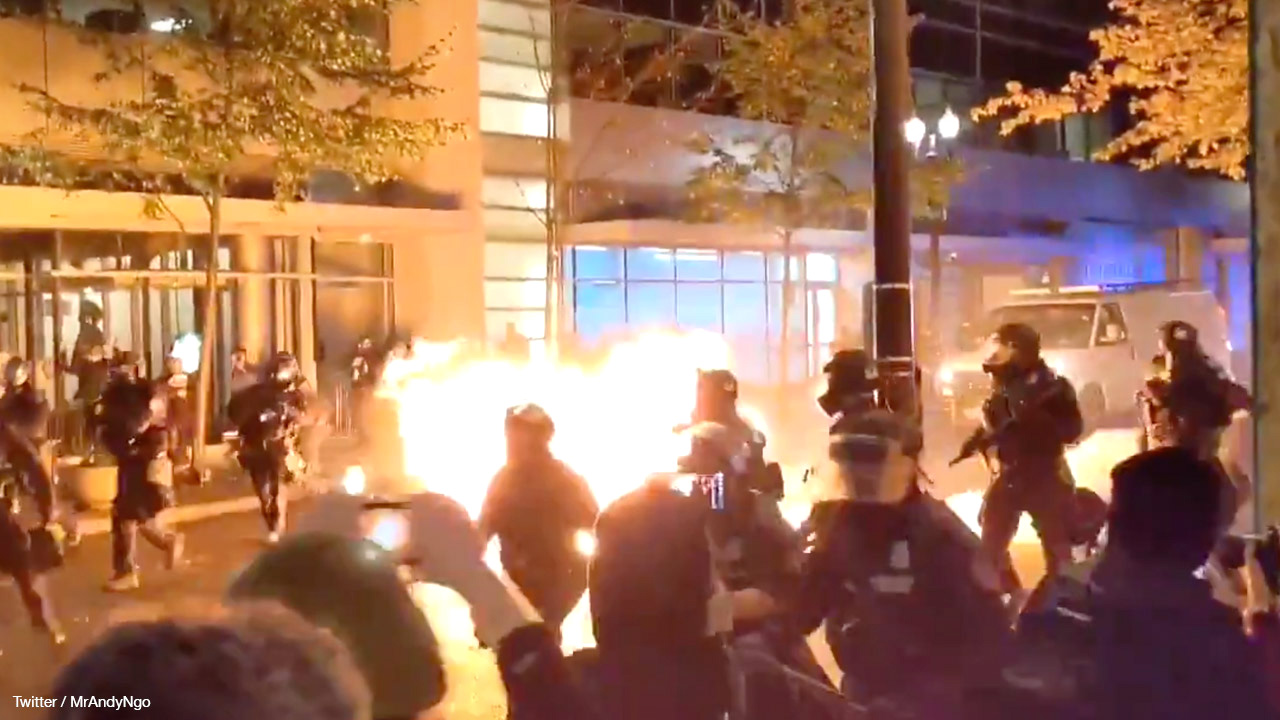 Molotov cocktail thrown at cops in Portland