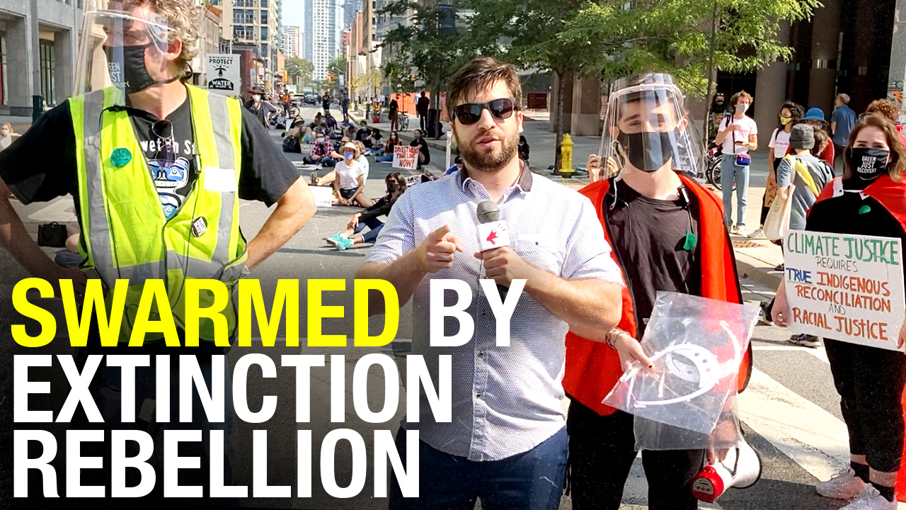 Climate protesters demand: shut down oil and gas, a green recovery, masks outdoors, revolution