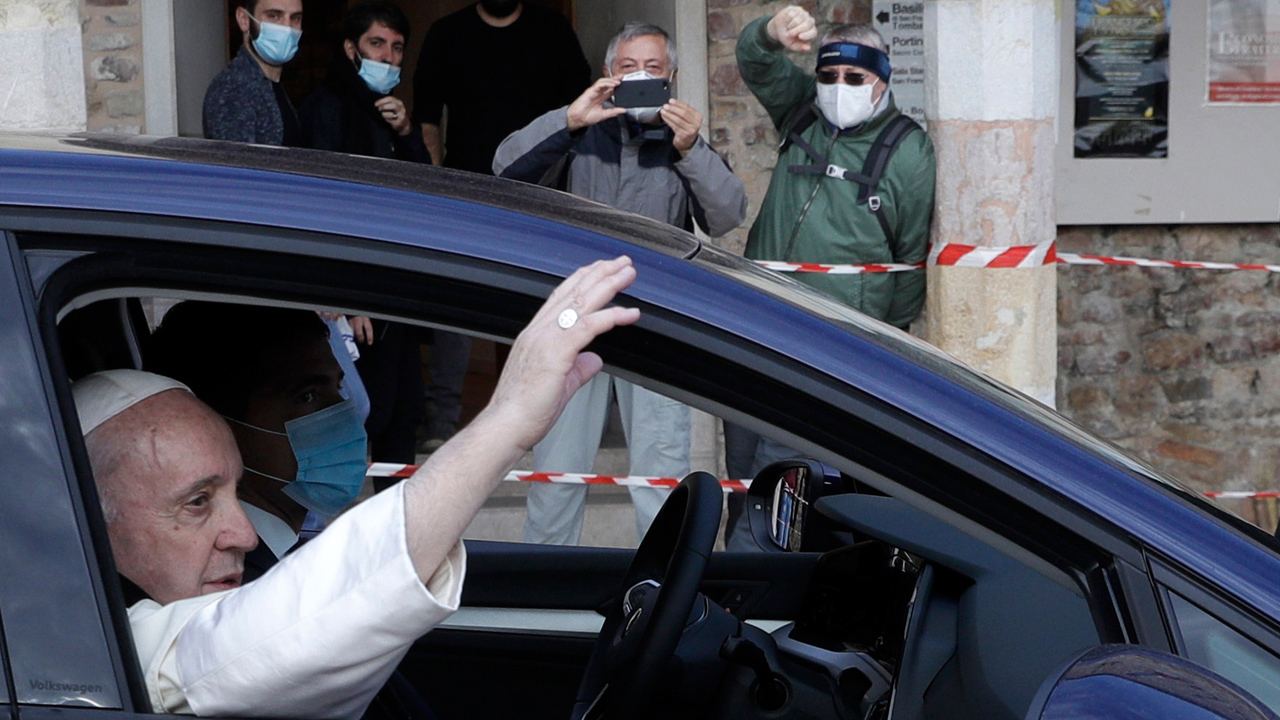 Pope Francis leaves Rome for first time since COVID-19 pandemic to sign encyclical
