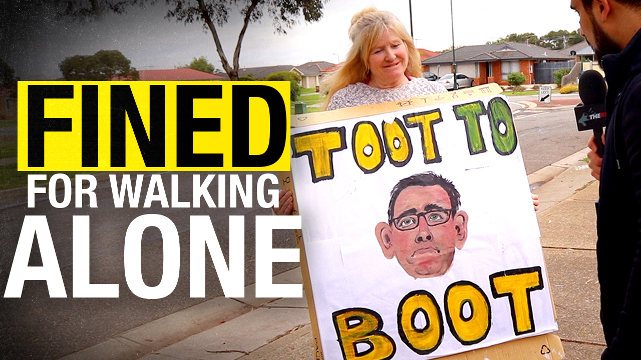 NO PROTESTING: Woman fined $1,652 for walking ALONE carrying a sign opposing Victoria Premier