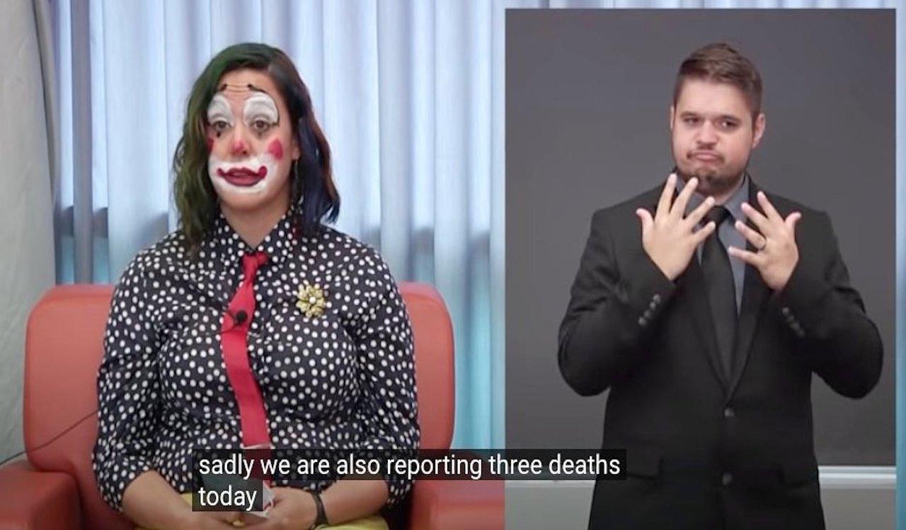 WATCH: Oregon Public Health official announces COVID deaths in CLOWN makeup