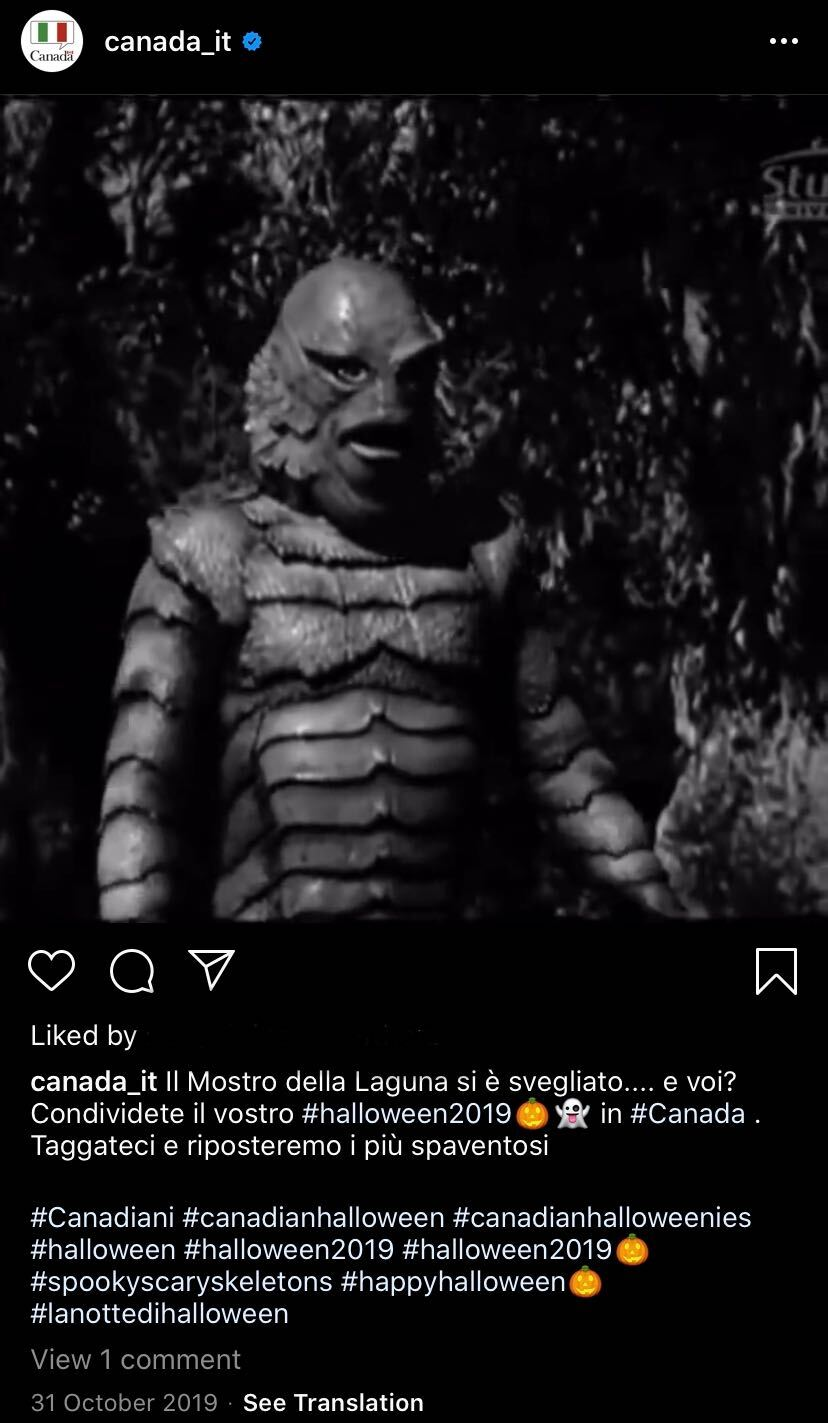 Canada in Italy's Instagram Halloween Message: Creature from the Black Lagoon