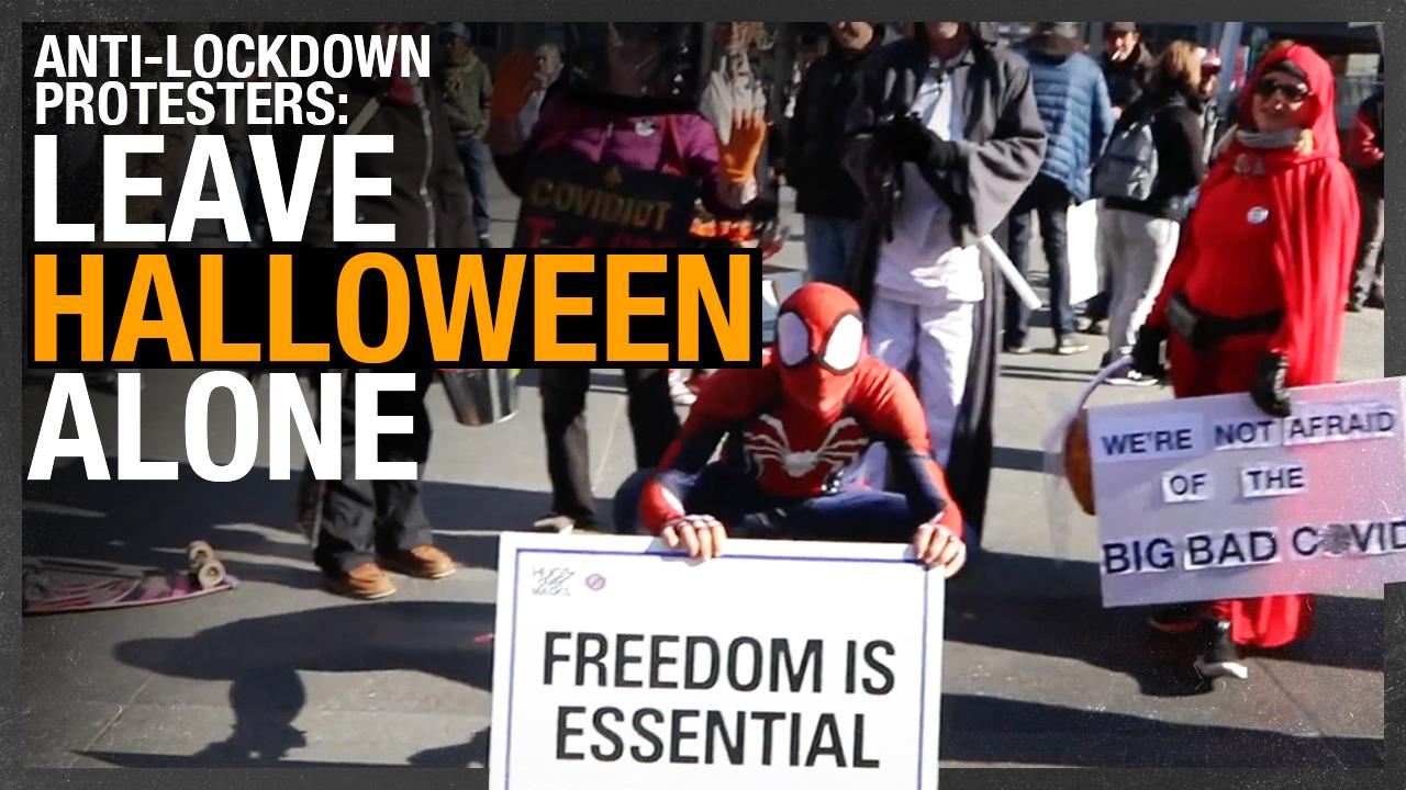 """Anything to keep us divided"": Toronto's anti-lockdown rally (Halloween edition)"