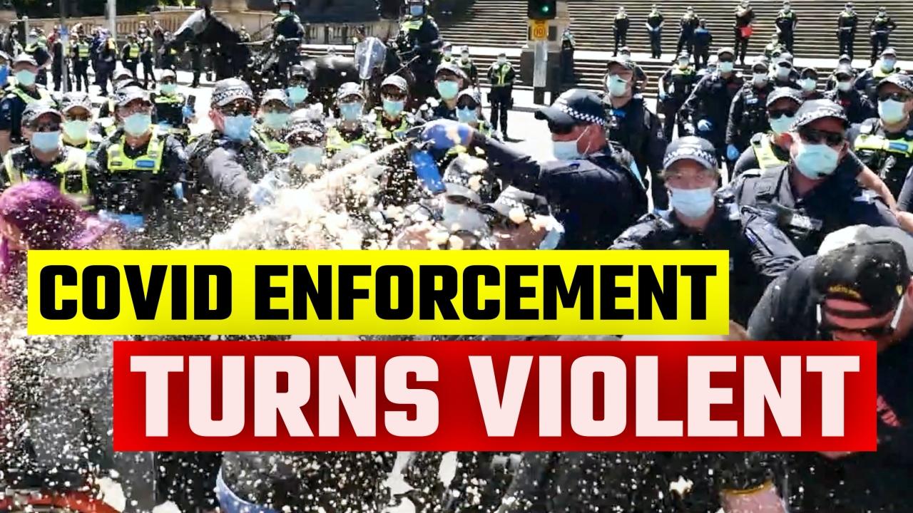 Police TRAP & BASH lockdown protesters in Melbourne today