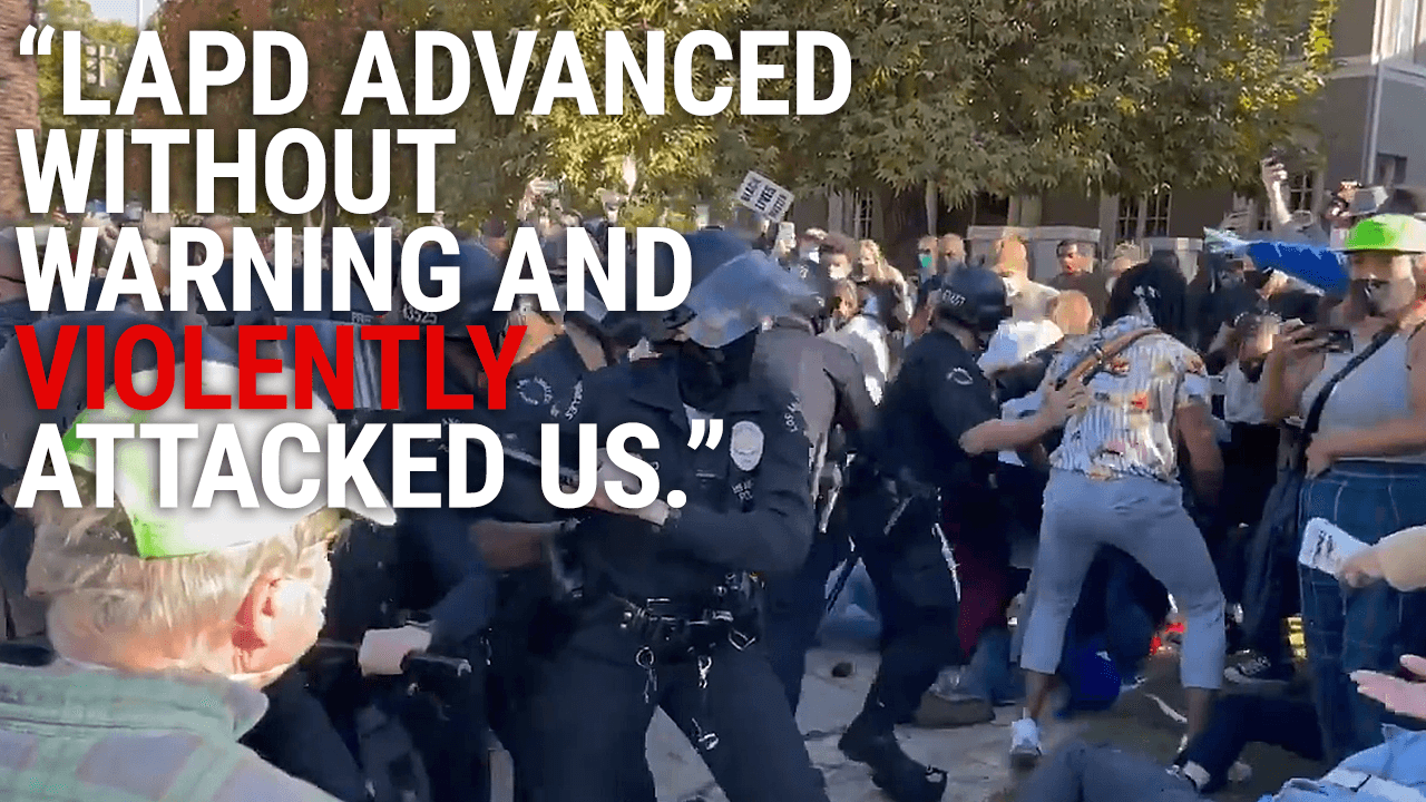 Black Lives Matter activists clash with police while protesting LA mayor