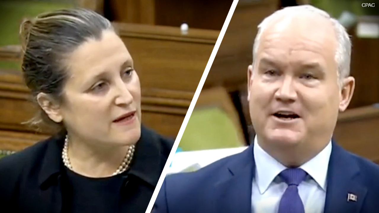 "WATCH: Conservative leader O'Toole spars with Deputy PM Freeland over ""The China Files"" in House"