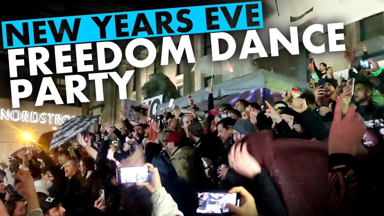 Vancouver protesters ring in the New Year with a dance party