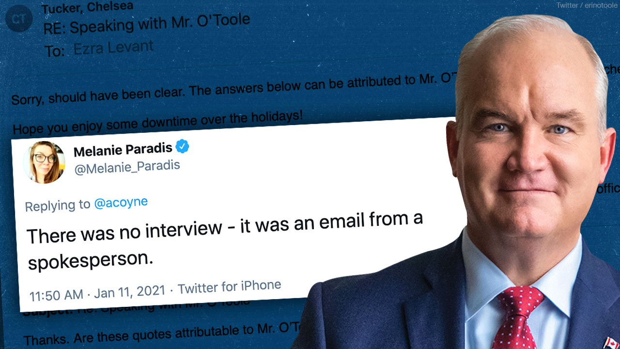 Conservative comms director denies Ezra Levant's interview with Erin O'Toole — so Ezra released the emails!