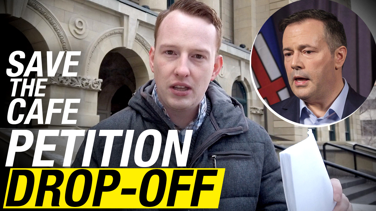 PETITION DROP OFF: Thousands of Save The Cafe signatures delivered to Jason Kenney's office