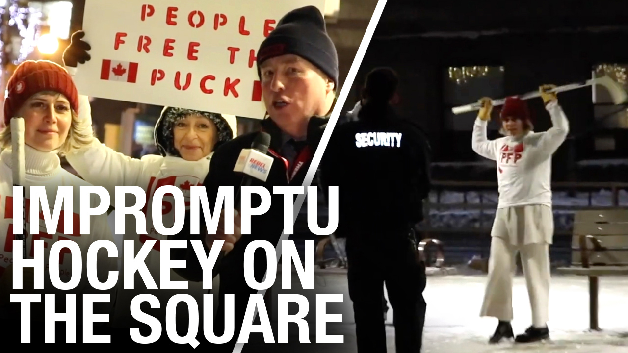 Pickup hockey protest to support Ocean Wiesblatt played at Toronto City Hall